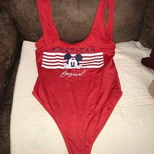 One piece USA Mickey swim suit